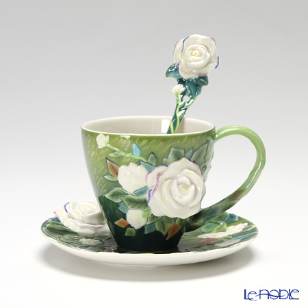 Franz Collection Van Gogh White Roses Design Sculptured Porcelain  Cup/saucer With Spoon FZ02461
