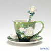 Franz Collection 'Van Gogh - White Rose (Flower)' FZ02461 Sculptured Cup & Saucer with Spoon