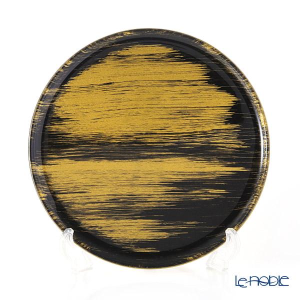 モダンボヘミア ブラック×ゴールド フラットプレート/トレイ 25cm