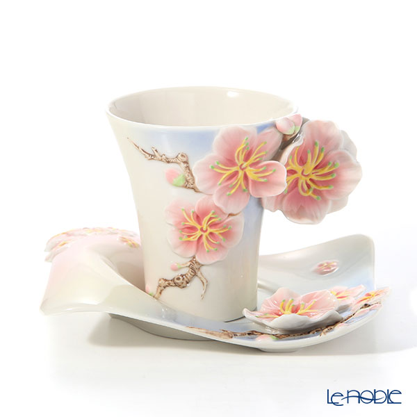 Franz Collection FZ02900 Four Seasons Plum Cup & Saucer with spoon