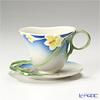 Franz Collection Spring freesia flower design sculptured porcelain cup/saucer set FZ00030