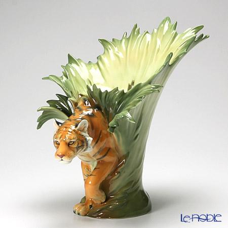 Le Noble Franz Collection Tiger Design Sculptured Porcelain Vase