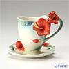 Franz Collection Tropical Blossoms Hibiscus flower design sculptured porcelain cup/saucer set FZ00820
