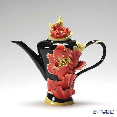 Franz Collection Striking Vermillion peony flower design sculptured porcelain teapot FZ01165