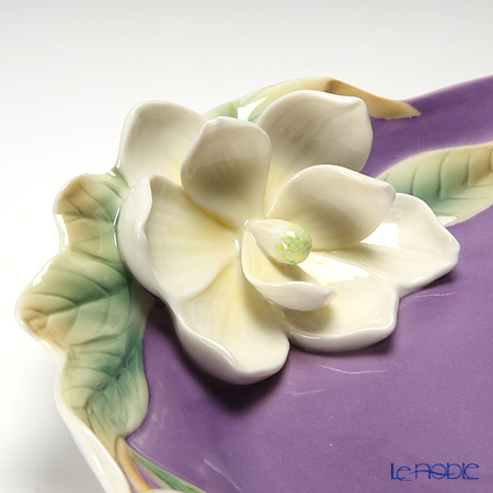 Franz Collection 'Southern Charm Magnolia (Flower)' Purple FZ01536 Sculptured Oval Platter 34x21.5cm