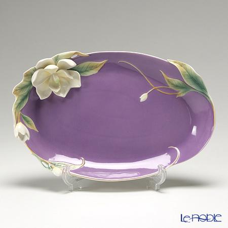 "Franz Collection ""Southern Charm"" magnolia flower design sculptured porcelain Platter FZ01536"