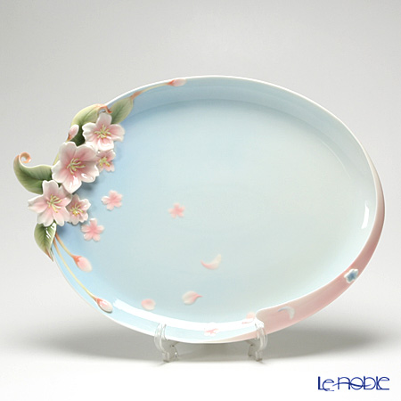 Franz Collection 'Cherry Blossom (Flower)' Pink & Sky Blue FZ01518E Sculptured Oval Plate 50x36cm