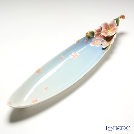 Franz Collection 'Cherry Blossom (Flower)' Pink & Sky Blue FZ01581E Sculptured Oval Dish 39x9.5cm