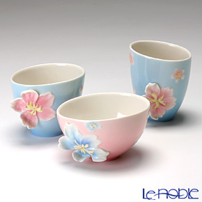 Franz Collection 'Cherry Blossom (Flower)' Pink & Sky Blue FZ01582E Sculptured Candy Bowl (set of 3 shape)