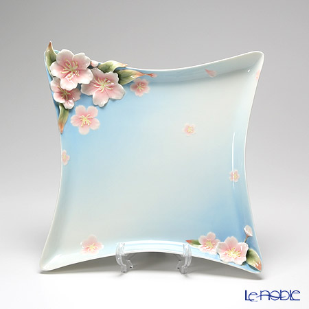 Franz Collection 'Cherry Blossom (Flower)' Pink & Sky Blue FZ01584E Sculptured Square Plate 38cm
