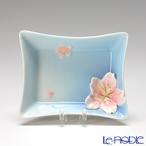 Franz Collection 'Cherry Blossom (Flower)' Pink & Sky Blue FZ01585CE Sculptured Rectangular Plate 11cm