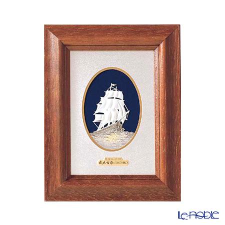 純銀額(Silver999) M5号 木製卓上フレーム茶 帆船 縦型 17×13cm 金銀工芸家・伝統工芸士 武比古作