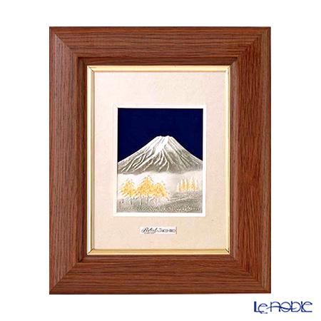 純銀額(Silver999) 1号 木製卓上フレーム茶 富士 縦型 20×17cm 金銀工芸家・伝統工芸士 武比古作