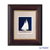 Sterling amount (Silver999) number 1 wooden tabletop frame Brown Yacht vertical 20 x 17 cm gold and silver crafts, traditional craftsman Takehiko old film
