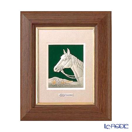 純銀額(Silver999) 1号 木製卓上フレーム茶 駿馬 縦型 20×17cm 金銀工芸家・伝統工芸士 武比古作