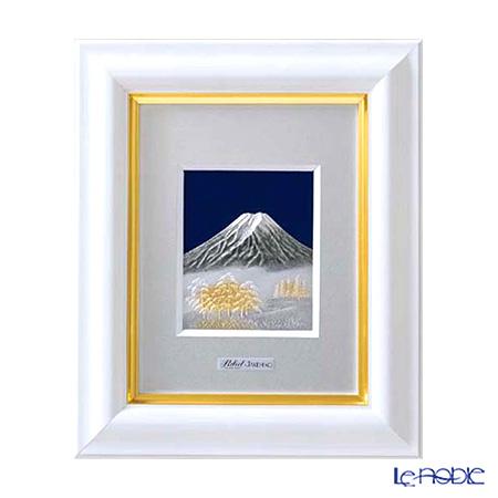 純銀額(Silver999) 1号 木製卓上フレーム白 富士 縦型 21×17cm 金銀工芸家・伝統工芸士 武比古作