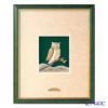 Sterling amount (Silver999) number 3 wood frame Green OWL portrait-28 x 23 cm gold and silver crafts, traditional craftsman Takehiko old film