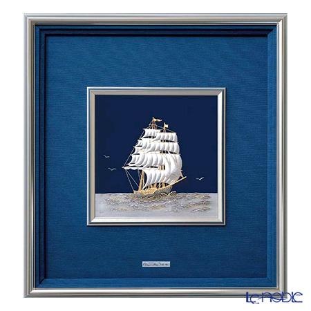 純銀額(Silver999) 8号 金属フレーム 帆船 縦型 44×41cm 金銀工芸家・伝統工芸士 武比古作