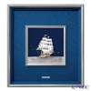 Sterling amount (Silver999) 8, metal frame Sailboat upright 44 x 41 cm gold and silver crafts, traditional craftsman Takehiko old film