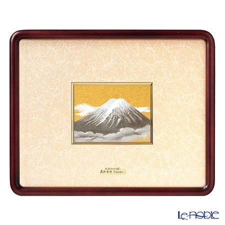 純銀額(Silver999) 5号 木製隅丸フレーム 富士(金地) 31×40cm 金銀工芸家・伝統工芸士 武比古作