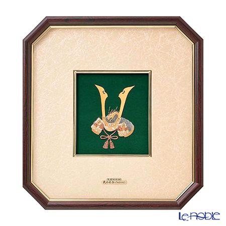 純銀額(Silver999) 5号 木製八角フレーム 兜 32×30cm 金銀工芸家・伝統工芸士 武比古作