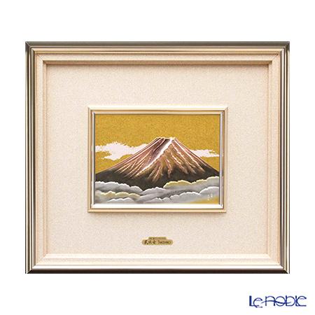 純銀額(Silver999) 5号 赤富士 32×36cm 金銀工芸家・伝統工芸士 武比古作