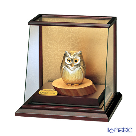 純銀置物(Silver999) 3号 スロープケースフクロウ 金銀工芸家・伝統工芸士 武比古作