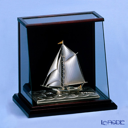 銀製置物(Silver985) 4号 スロープケース ヨット 1本マスト 金銀工芸家・伝統工芸士 武比古作