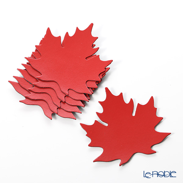 Coaster Delia (Deria) leaf set of 6 Red/leather Board (recycled leather) 9 x 9 cm BRD70SD2 holder
