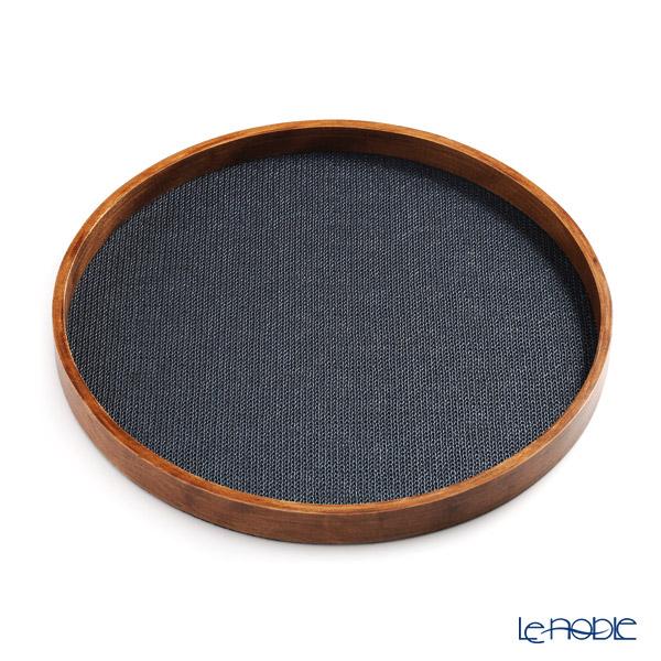 デリア(Deria) ラウンドトレイ(お盆) 木枠付38.5cm チェーン ブルー TPS380.25M