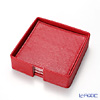 Deria 'Red' BRD1478 Square Coaster 9cm (set of 6 with holder)