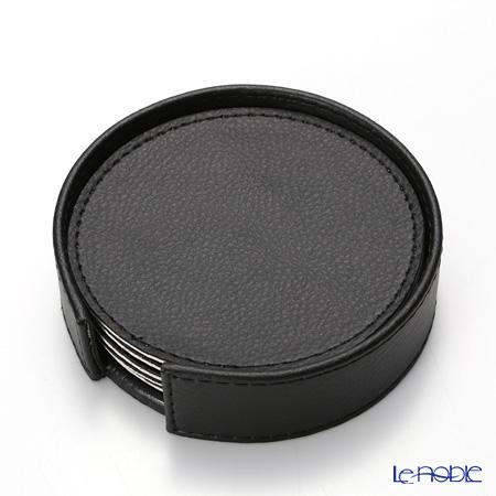 デリア(Deria) ラウンドコースター リバーシブル 6枚セットブラック×ベージュ 9×9cm BRD1800 ホルダー付