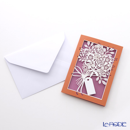 Quire 'Flower Bouquet' Red Purple QR2803 Note Card with Envelope 12x17cm