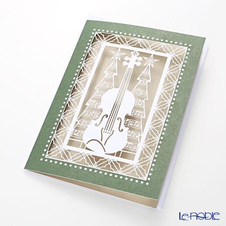 メッセージカード QUIRE社 クワイヤー 11.4×16.3cm(定形サイズ) XQR2845(Christmas)バイオリン レーザーカット