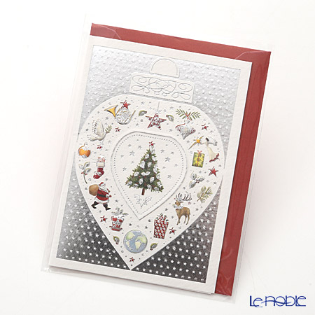 Quire 'Christmas / Tree Ornament' Silver & Red XQR9584 Note Card with Envelope 9.5x7cm
