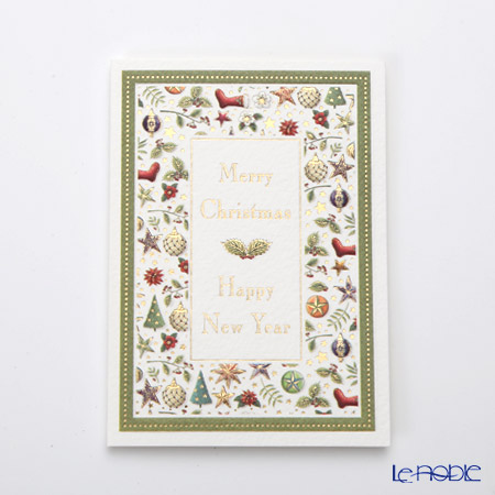 Quire 'Merry Christmas & Happy New Year' Green & Red XQR9624 Note Card with Envelope 9.5x7cm