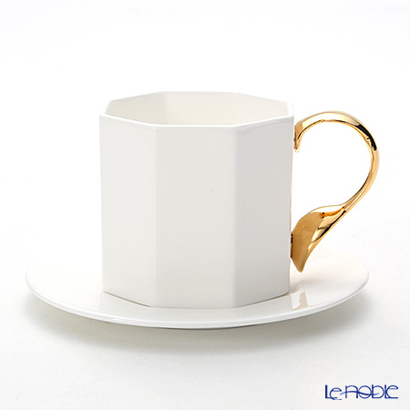 Twig New York Cutlery Cup & Saucer W/Gold Handle