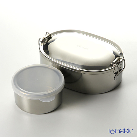 Thai Stainless Steel Seagull Oval Lunch Box 16 cm & Dessert Cup with plastic lid