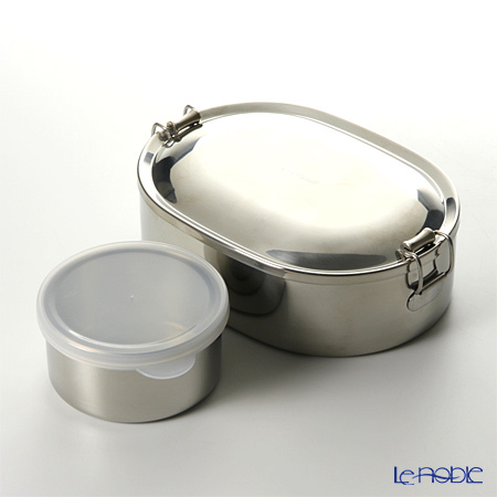 Thai Stainless Steel Seagull Oval Lunch Box 18 cm & Dessert Cup with plastic lid