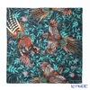Jim Thompson silk scarf square 80061A Bird and fruit / dark green