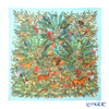 Jim Thompson silk scarf square 80068A Wild life Kingdom/turquoise