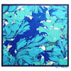 Jim Thompson silk scarf square 80089E Deepsea / green and cobalt blue