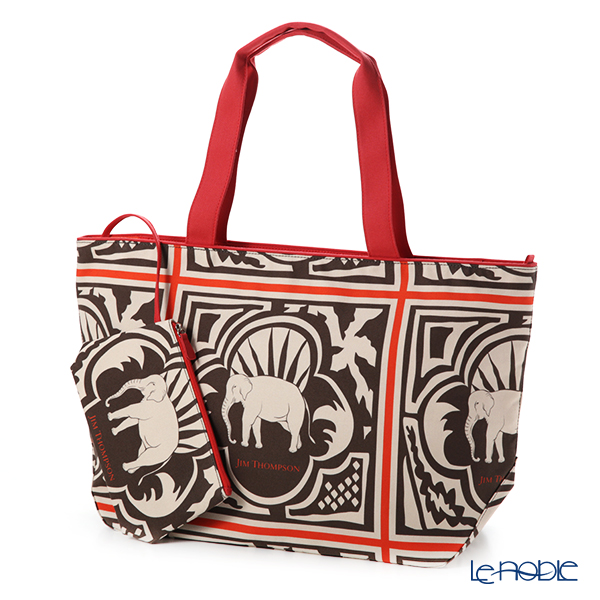 Jim Thompson 'Elephant Wood' Brown Red Tote Bag (L) 53xH49cm with Small Poach
