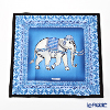 Jim Thompson 'Ceremony Elephant Dressed Up' Blue / Black 70006A Ruffled Silk Cushion Cover 46x46cm
