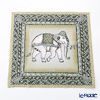 Jim Thompson 'Ceremony Elephant Dressed Up' Khaki Green 70006B Ruffled Silk Cushion Cover 46x46cm