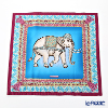 Jim Thompson 'Ceremony Elephant Dressed Up' Sky Blue / Purple 70006D Ruffled Silk Cushion Cover 46x46cm