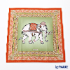 Jim Thompson 'Ceremony Elephant Dressed Up' Moss Green / Orange 70006E Ruffled Silk Cushion Cover 46x46cm