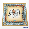 Jim Thompson 'Ceremony Elephant Dressed Up' Beige / Brown 70006C Ruffled Silk Cushion Cover 46x46cm