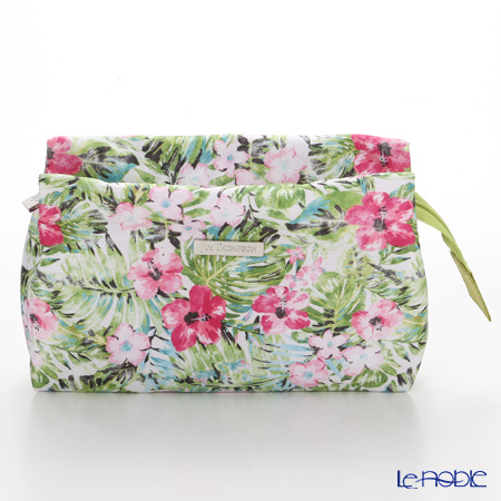 Jim Thompson 'Hibiscus Flower' Pink & Green 11310058A Cosmetic Pouch 17.5x11cm