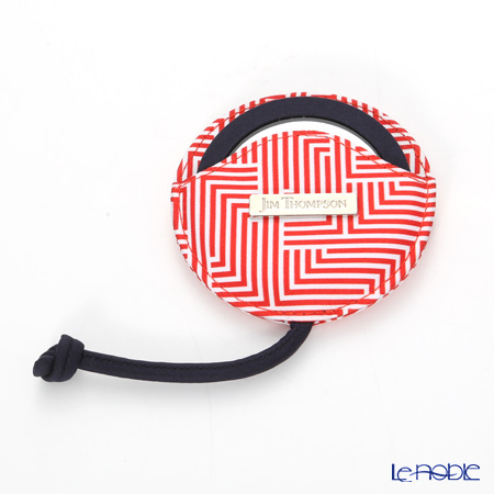 Jim Thompson 'Labyrinth' Red 11310049B Round Mirror with Cover 7.5cm